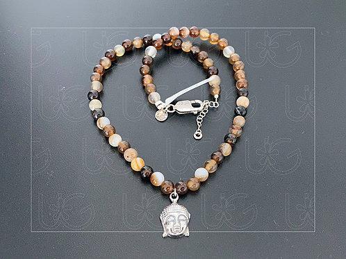 Collar de piedra natural con dije Buda de plata fina .925