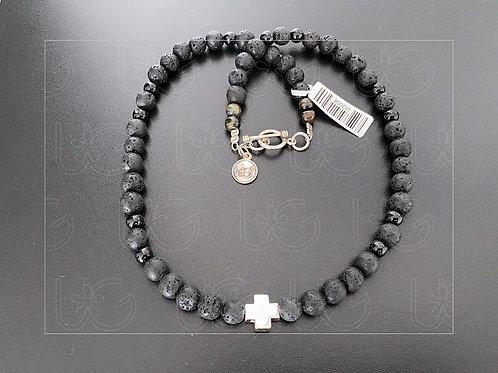 Collar de piedra natural con cruz suiza de plata fina .925