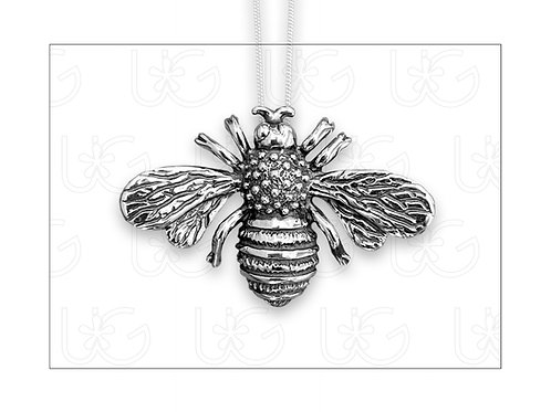 Dije /prendedor de plata fina .925, modelo abeja, incluye cadena