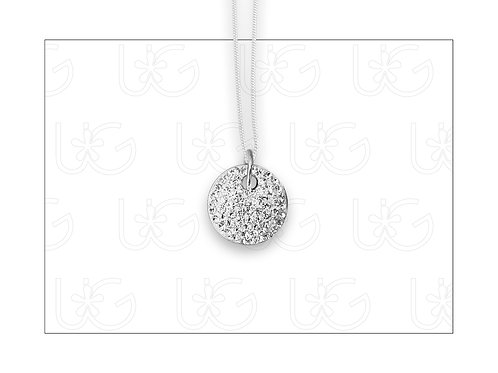 Dije de plata fina .925 redondo, chico, perforado, con cristales Swarovski.