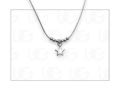 Collar de plata fina .925 con dije de estrella, mini.