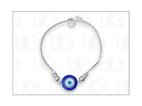 Pulsera de plata con ojo turco redondo grande y broche
