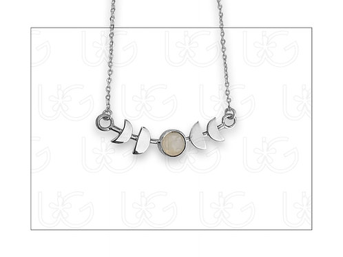Collar de plata fina .925 con dije fases lunares, CHICO.