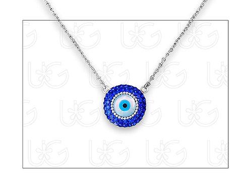 Collar sencillo de plata con ojo turco redondo grande