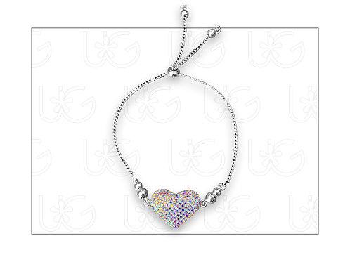 Pulsera de plata ajustable con corazón relleno de cristales Swarovski