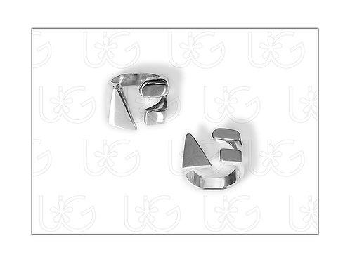 Anillo de plata fina .925 abierto, triángulo/óvalo/rectángulo