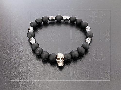 Pulsera piedras naturales y cráneo de plata fina .925