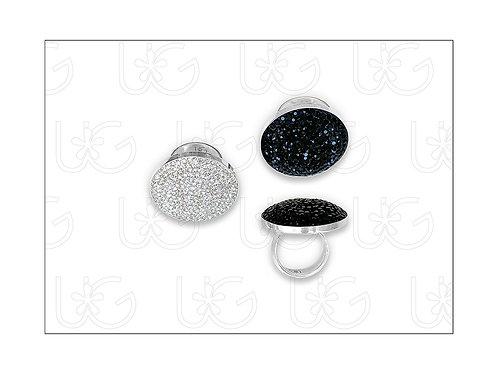 Anillo de plata fina .925 redondo, ajustable, grande, con cristales Swarovski.