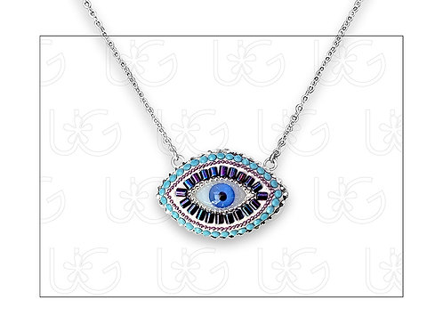 Collar sencillo de plata con ojo turco ovalado grande