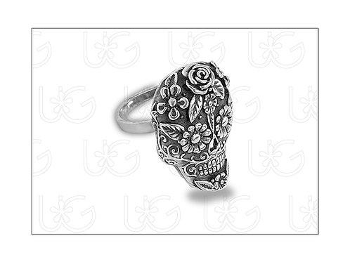 Anillo de plata fina .925 ajustable, modelo catrinas con flores.