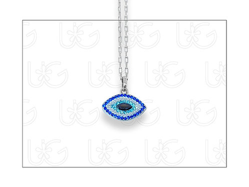 Dije ojito de plata .925, homenaje huichol con cristales, zirconias.
