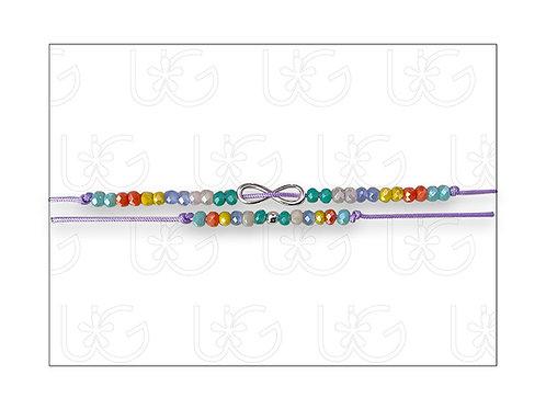 Doble pulsera de hilo ajustable con cristales e infinito de plata