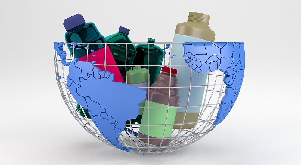Plastic packaging within a half world globe