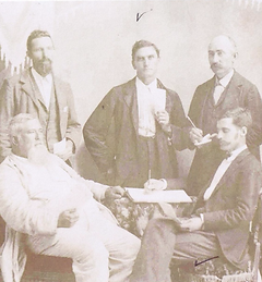 Joseph Jefferson Mansfield (seated at right) - great-grandfather to Mayor Nolen