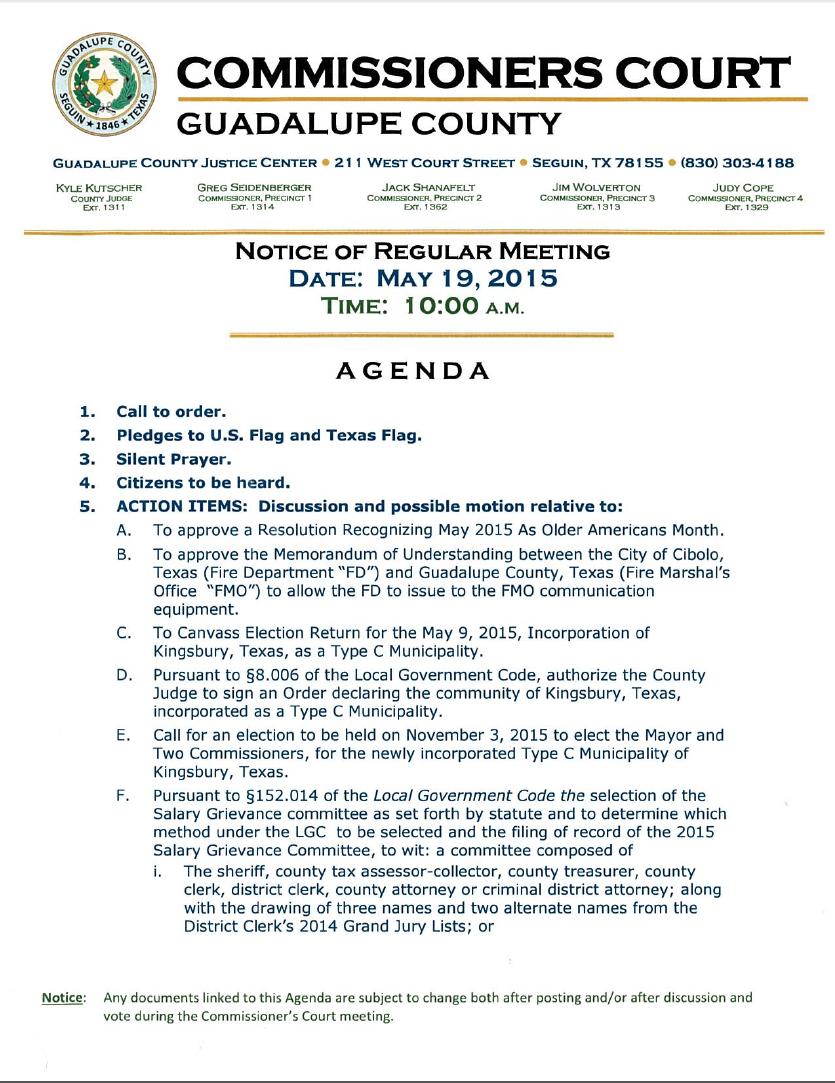 Commissioners Court agenda