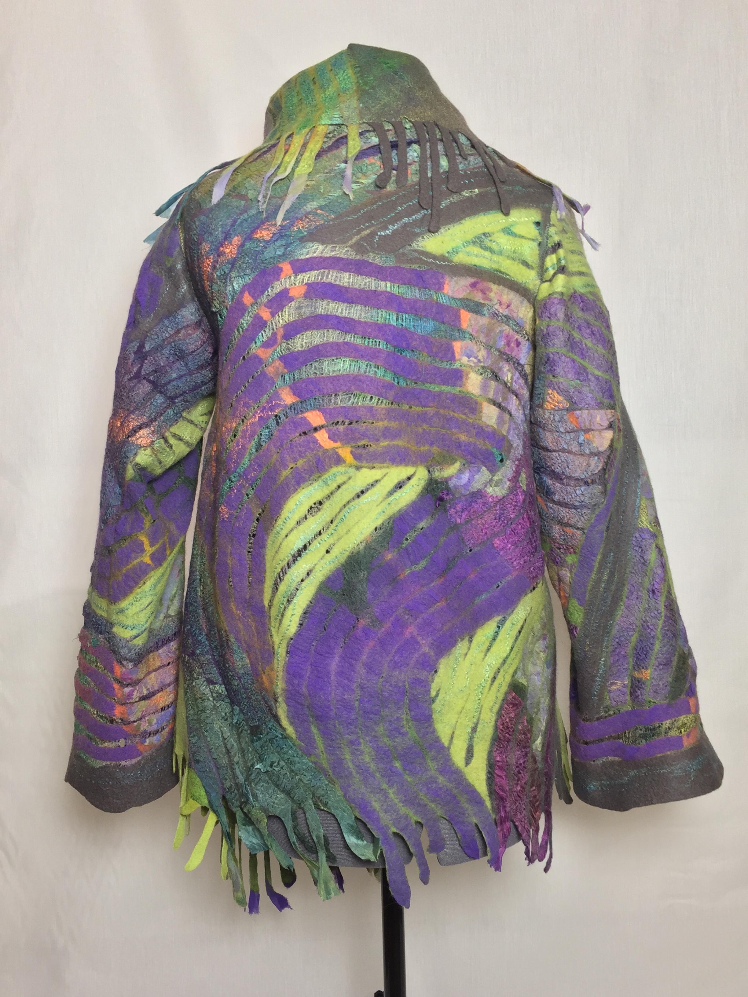 Mosaic nuno-felted shawl