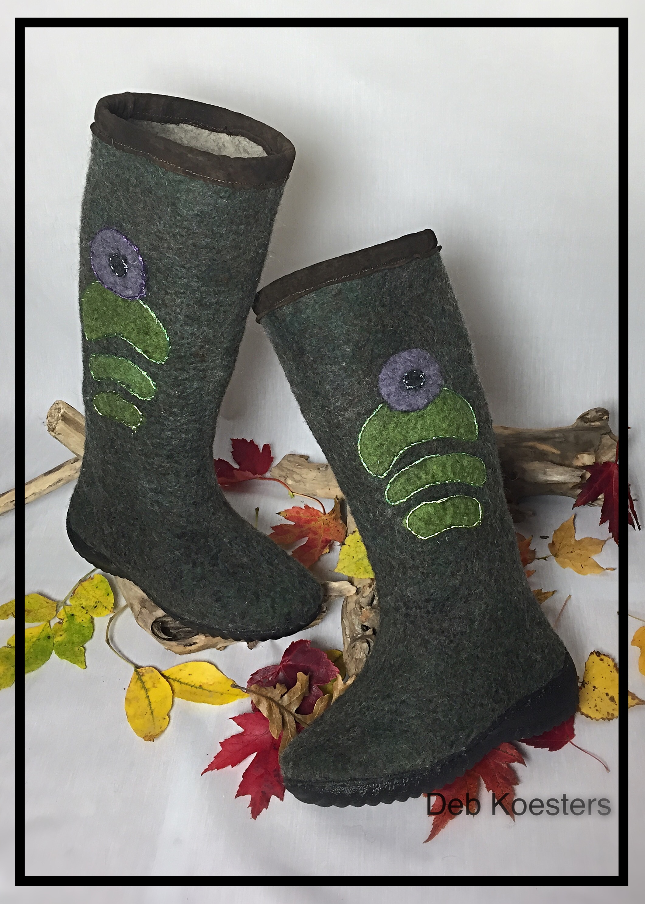 Wet felted evergreen boots