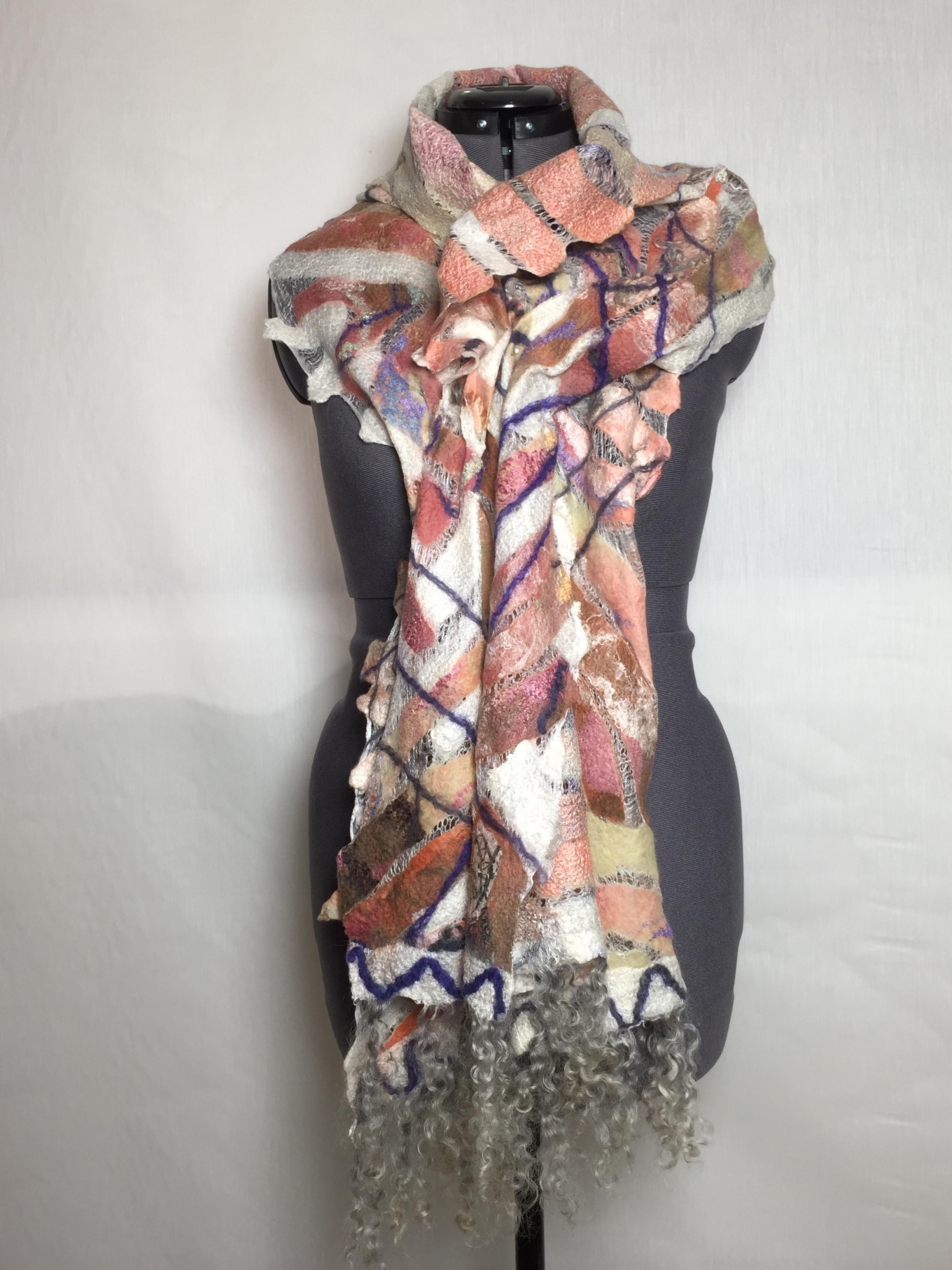 Mosaic felted scarf