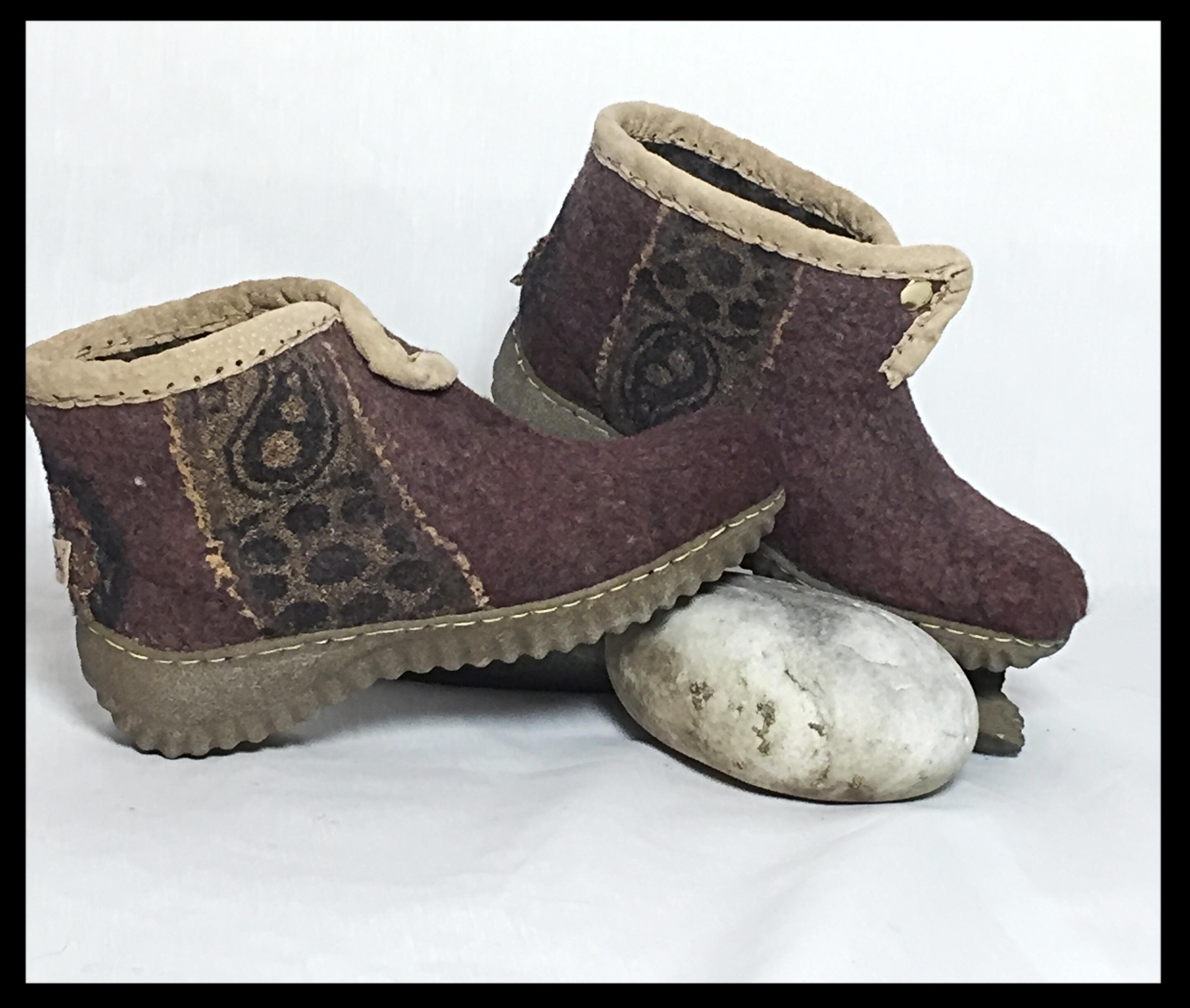 Burgundy Felt Boots