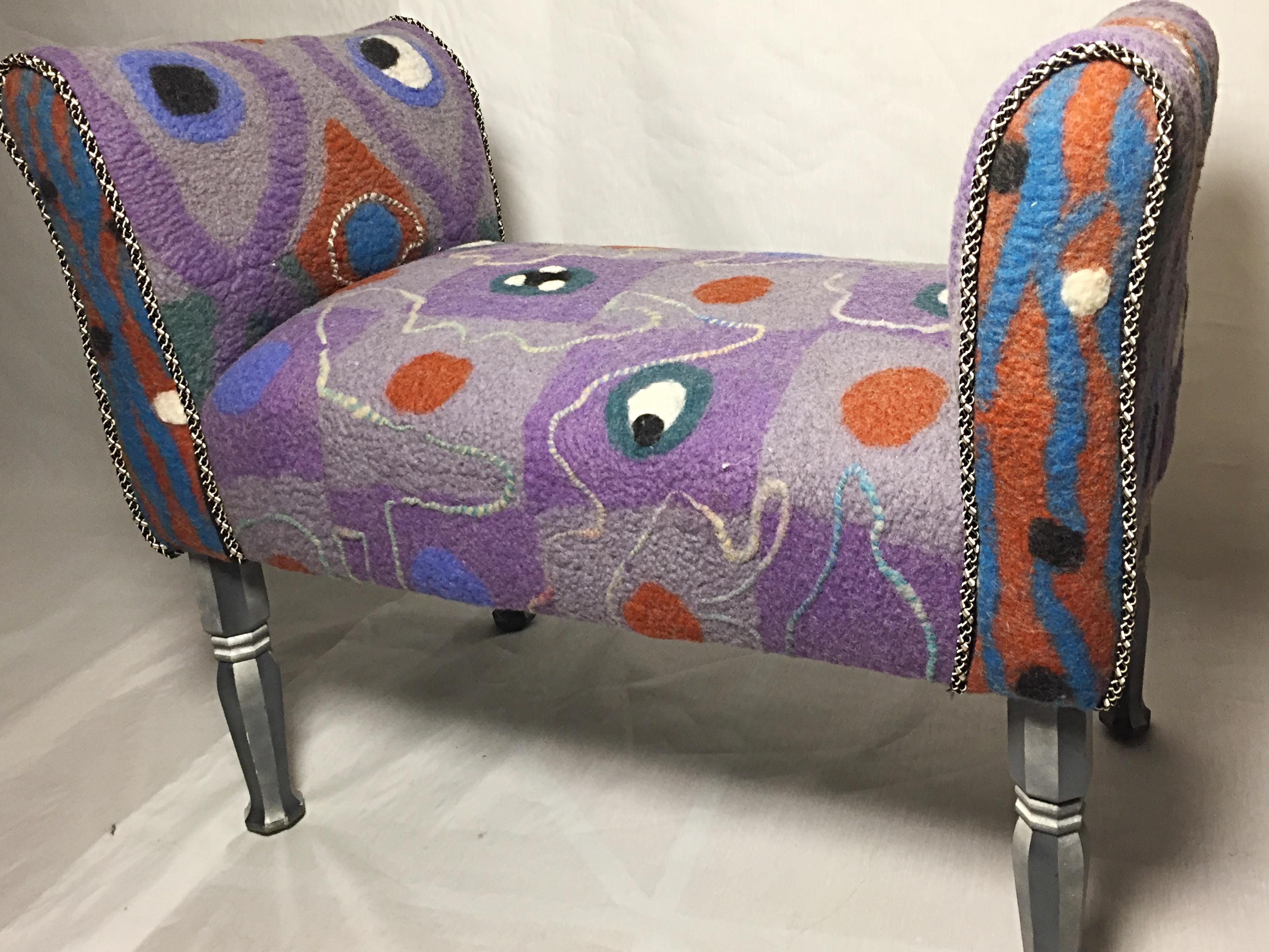Handmade felt upholstered settee