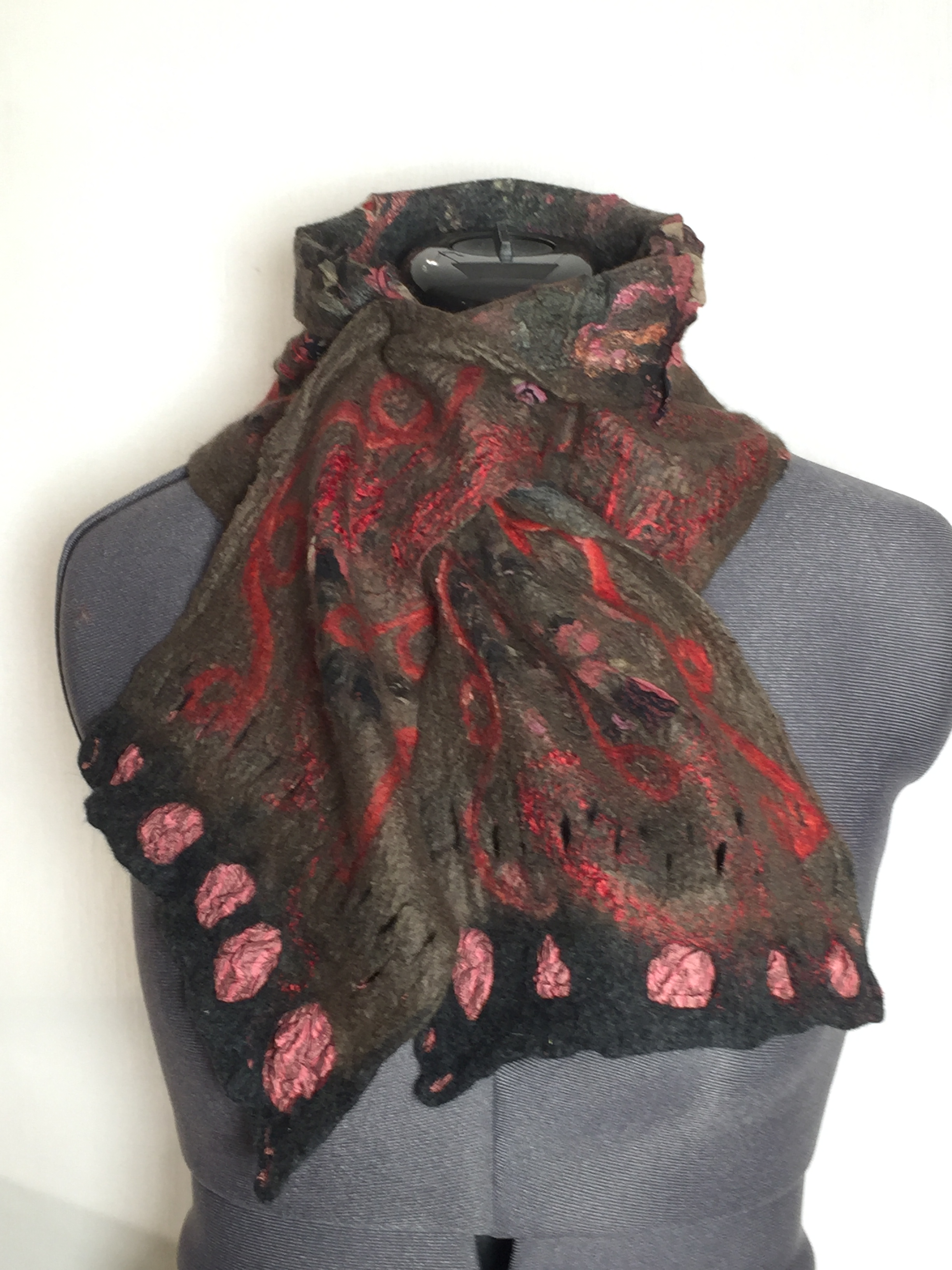 Reversible nuno-felted scarf