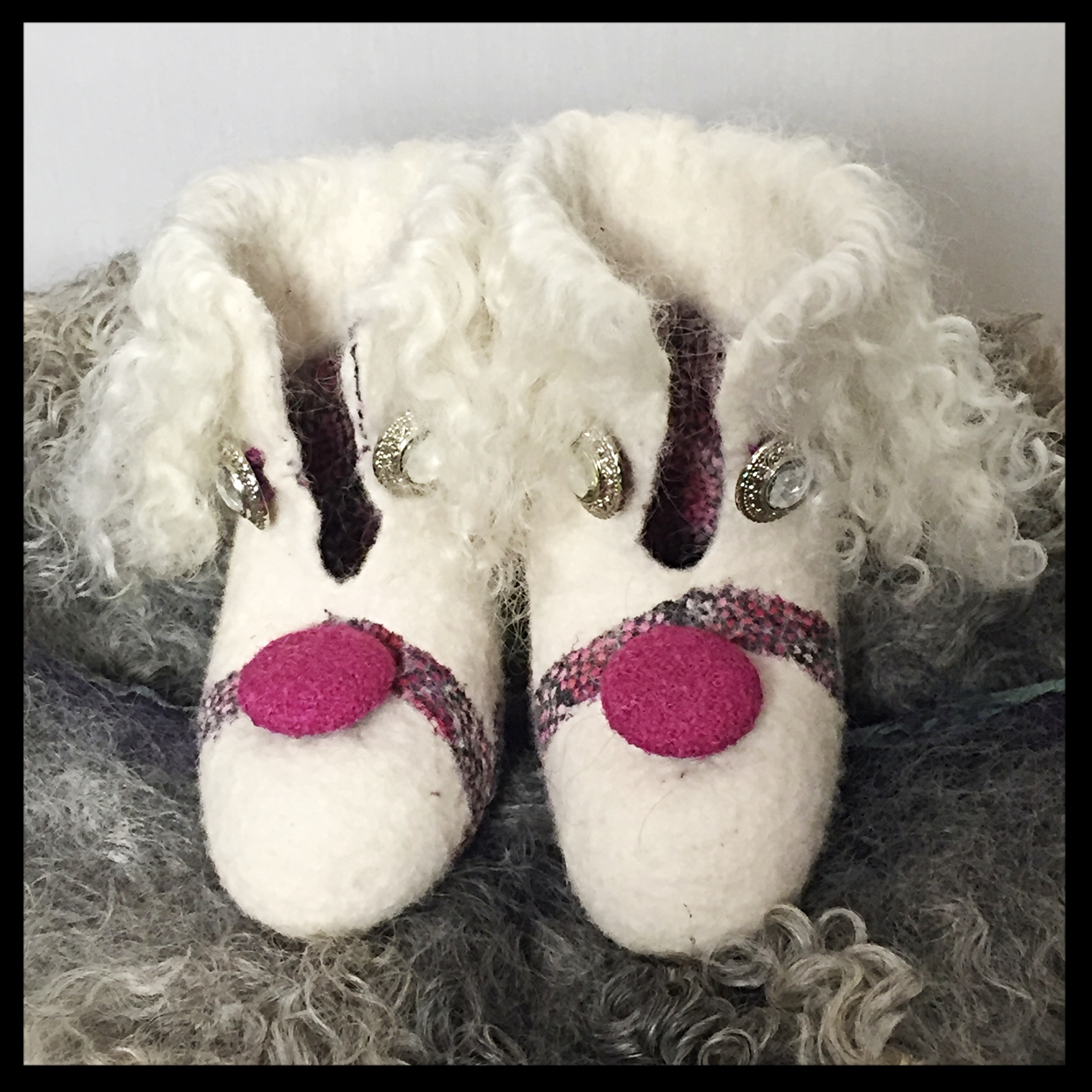 White wool boots