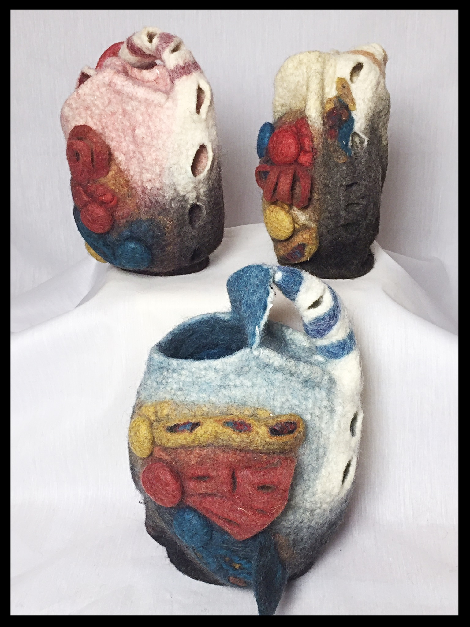 combination wet-felted vessels