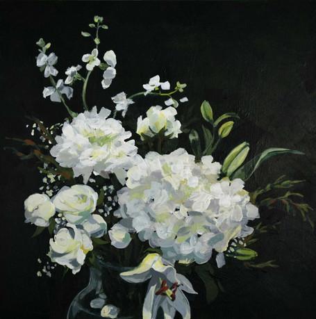 "Winter Bouquet. Acrylic on panel, 12""x12"""