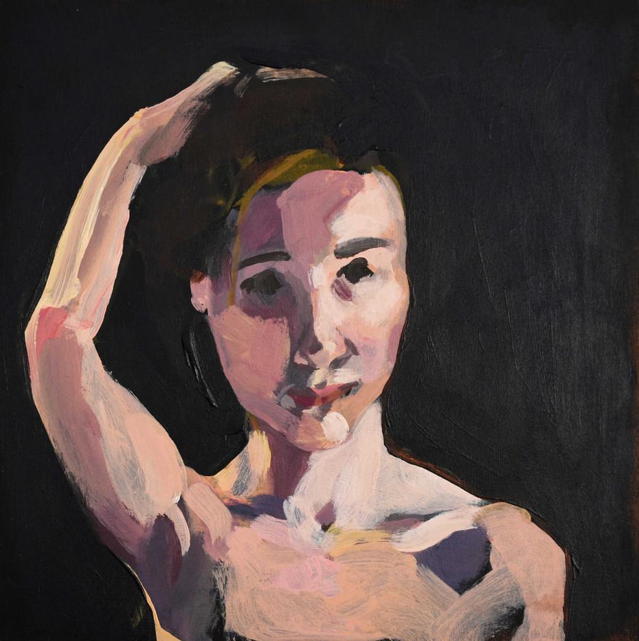 "Untitled Portrait 3. Acrylic on panel, 12""x12"""