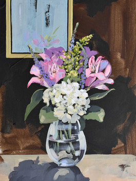 "Flower Study. Acrylic on paper, 24""x18"""