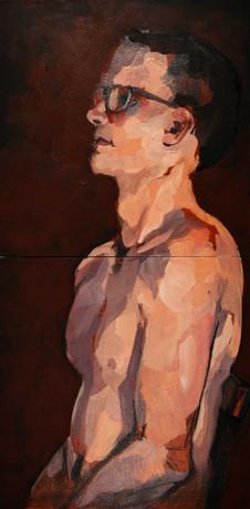 "Sunburt. Acrylic on canvas, 24""x12"""