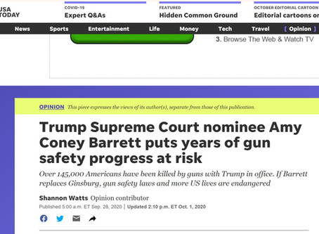 Trump's SCOTUS Nominee Amy Coney Barrett puts years of GUN CONTROL progress at risk... ... GOOD!