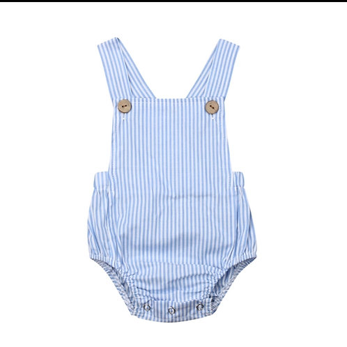 Blue Striped Boys Overalls