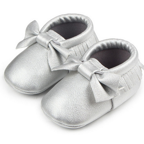 Silver Soft Sole Moccasins