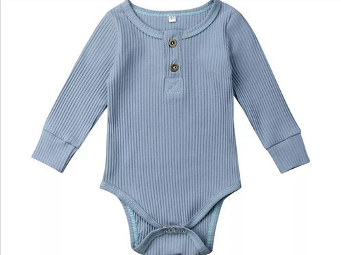 Ribbed long Sleeve Romper 100% Cotton