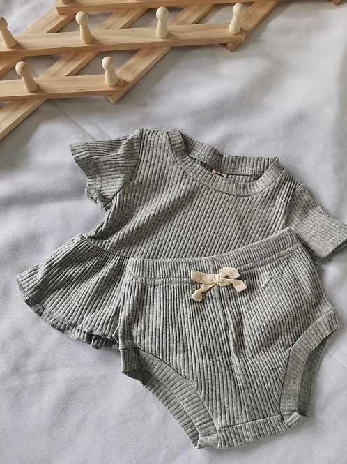 Peplum Bloomer Set (Grey)