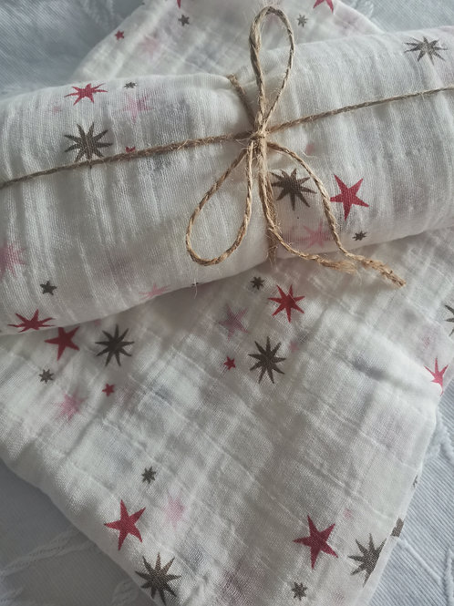 100% Cotton Muslin Blanket/Swaddle (Stars)