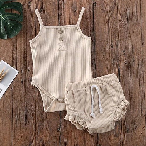 Beige Girls Two Piece Set