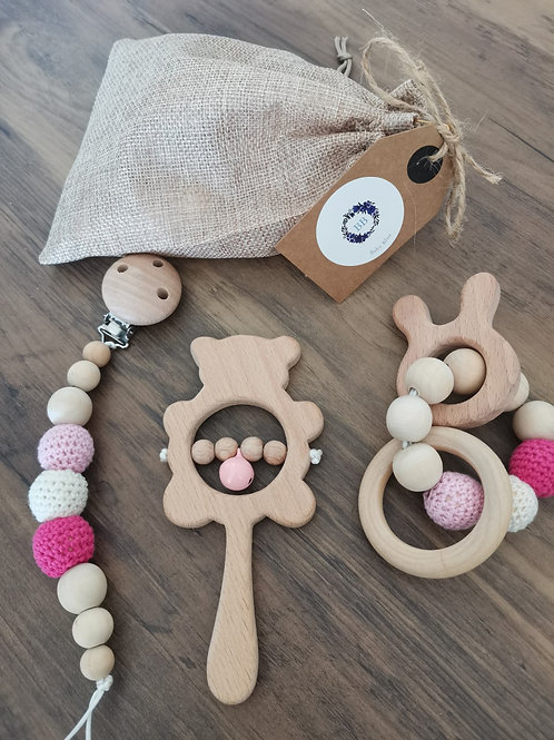 Wooden 3 piece includes Teether, Rattle and Pacifier Clip! (Pink)