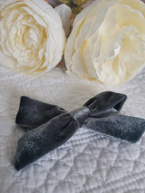 Grey Bow with Hair Clip