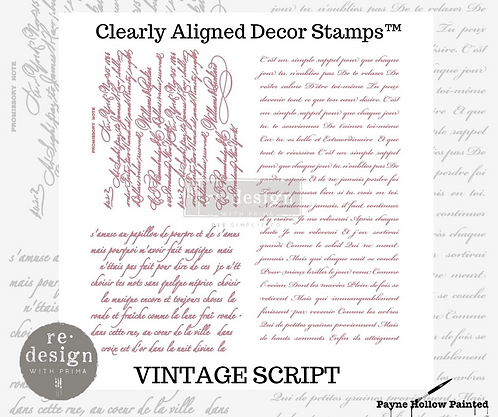 VINTAGE SCRIPT -  Clearly Aligned Décor Stamps
