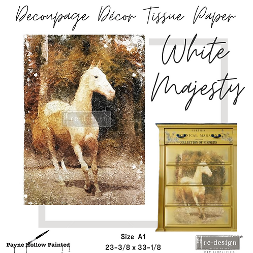 WHITE MAJESTY - Redesign A1 Decoupage Tissue Paper