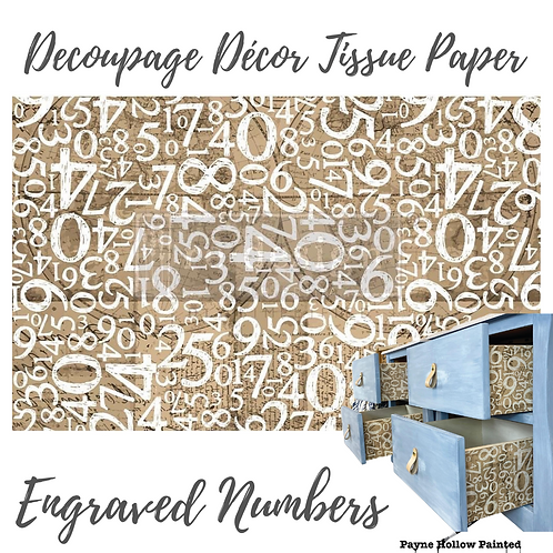 ENGRAVED NUMBERS - Redesign Decoupage Tissue Paper