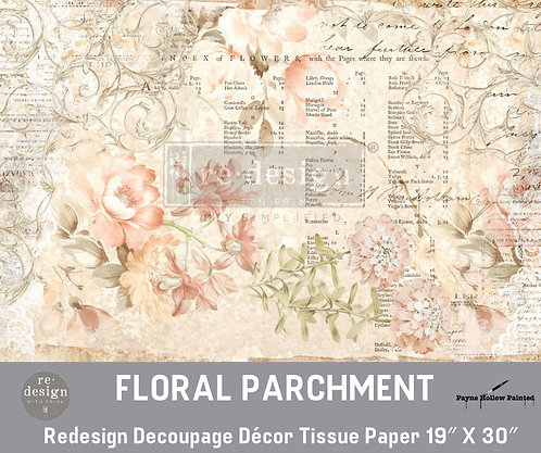 FLORAL PARCHMENT - Redesign Decoupage Tissue Paper