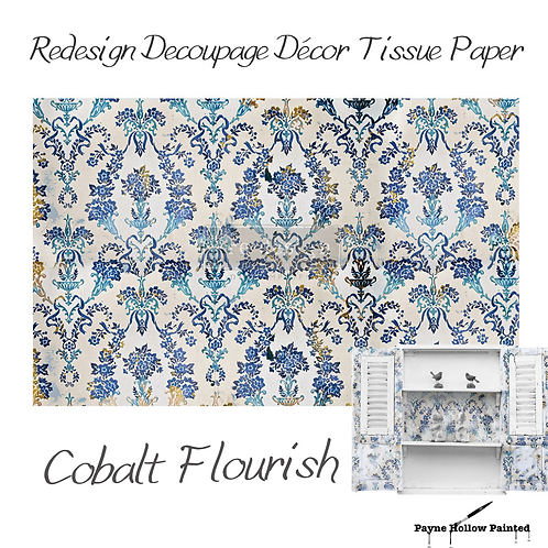 COLBALT FLOURISH - Redesign Decoupage Tissue Paper