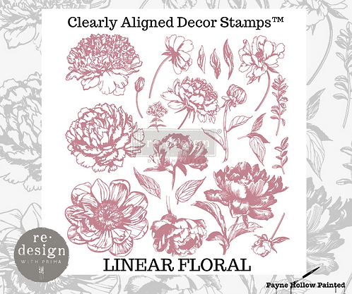 LINEAR FLORAL -  Clearly Aligned Décor Stamps