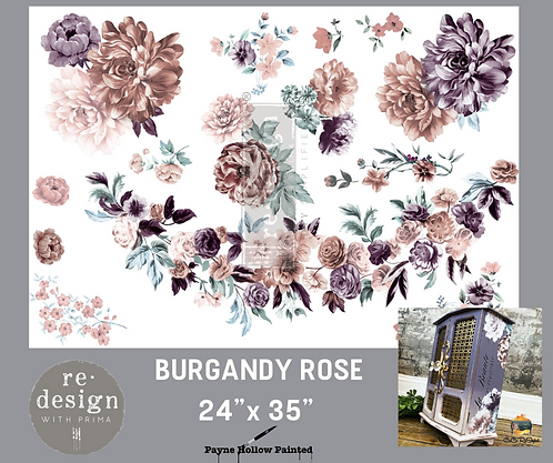BURGUNDY ROSE GARDEN - Redesign Décor Transfers®