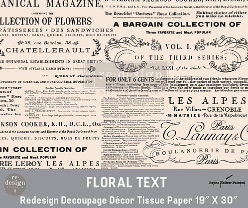 FLORAL TEXT - Redesign Decoupage Tissue Paper