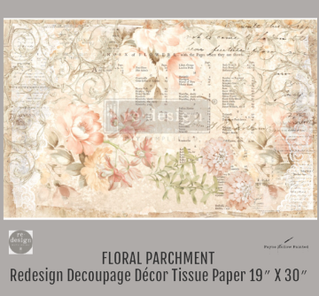 FLORAL PARCHMENT - Redesign Decoupage Paper