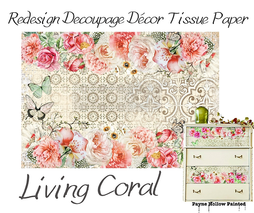 LIVING CORAL  - Redesign Decoupage Tissue Paper